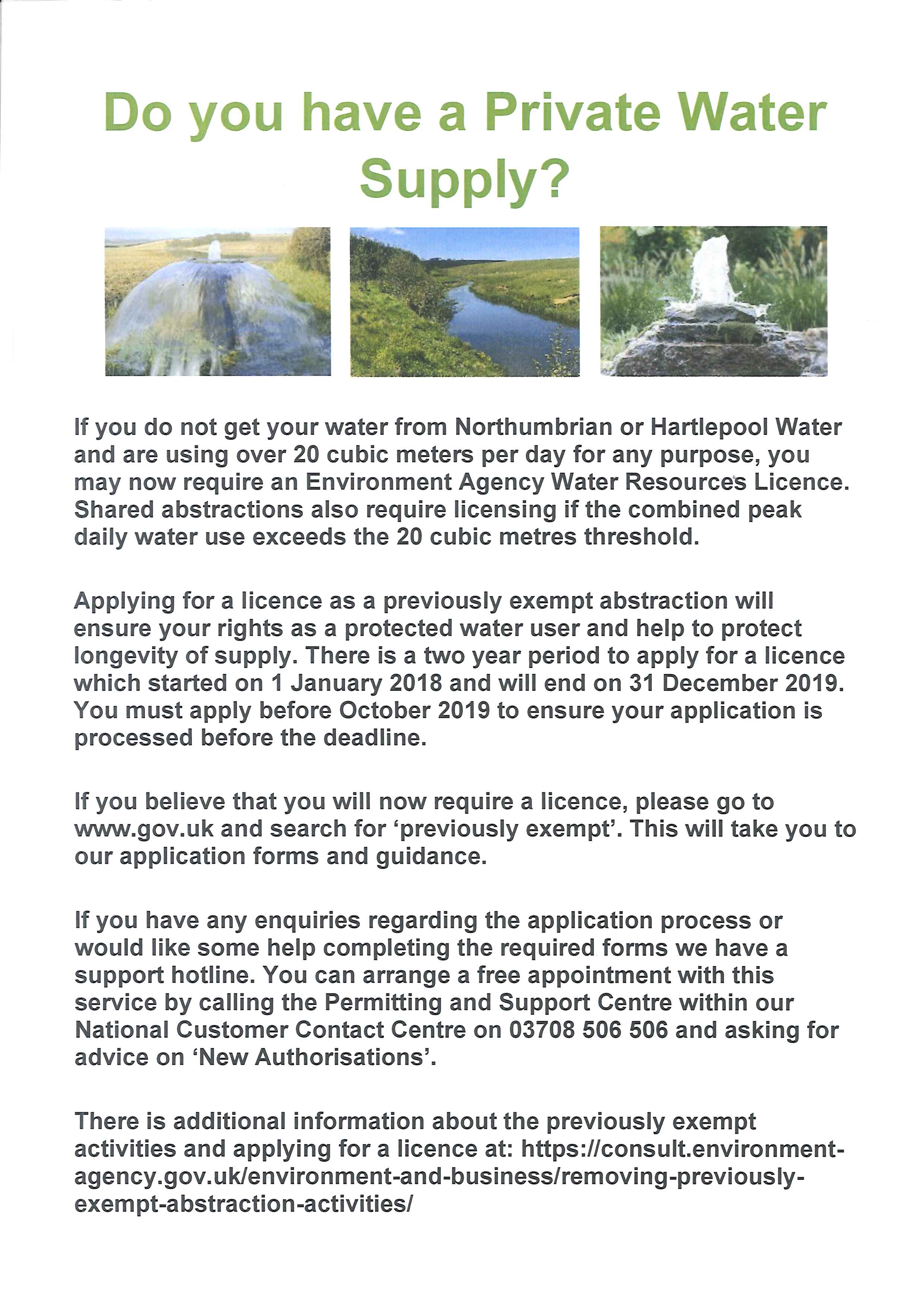 Water Supply Licence – Pegswood Town Parish